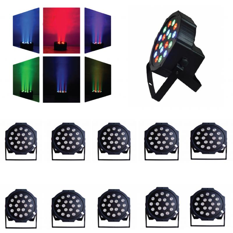 10 UNIDADES FOCOS PAR LED 18 x 1 watts RGB
